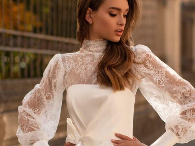 Effet contrasté : les robes de mariée bi-matières