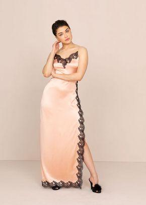 Amelea Long Slip Pink and Black, 439