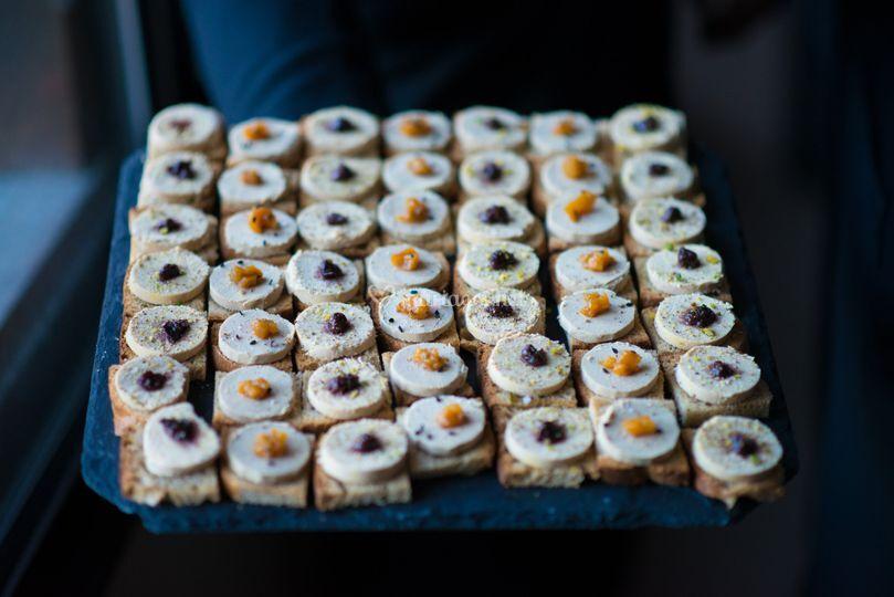 Mini tartine ficelle foie gras