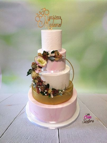 Wedding cake floral hoop