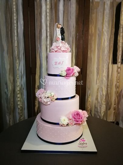 Wedding cake rose et bleu