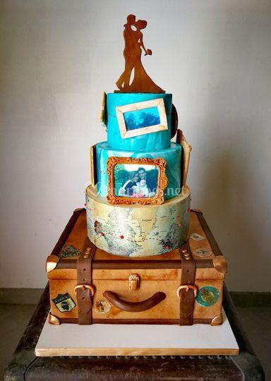 Thème voyage gâteau valise
