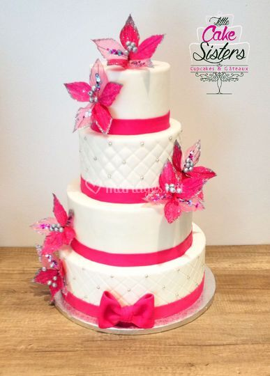 Wedding cake fushia et blanc