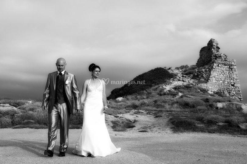 Mariage en Corse - en noir et blanc