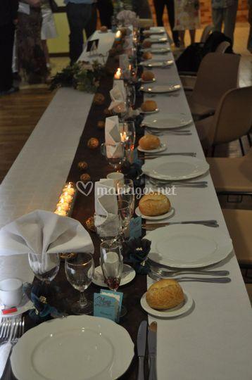 Mariage turquoise chocolat table