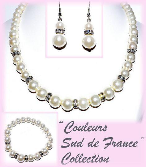 Parure complète perles et cristal