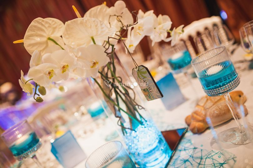 Déco orchidée et tuquoise