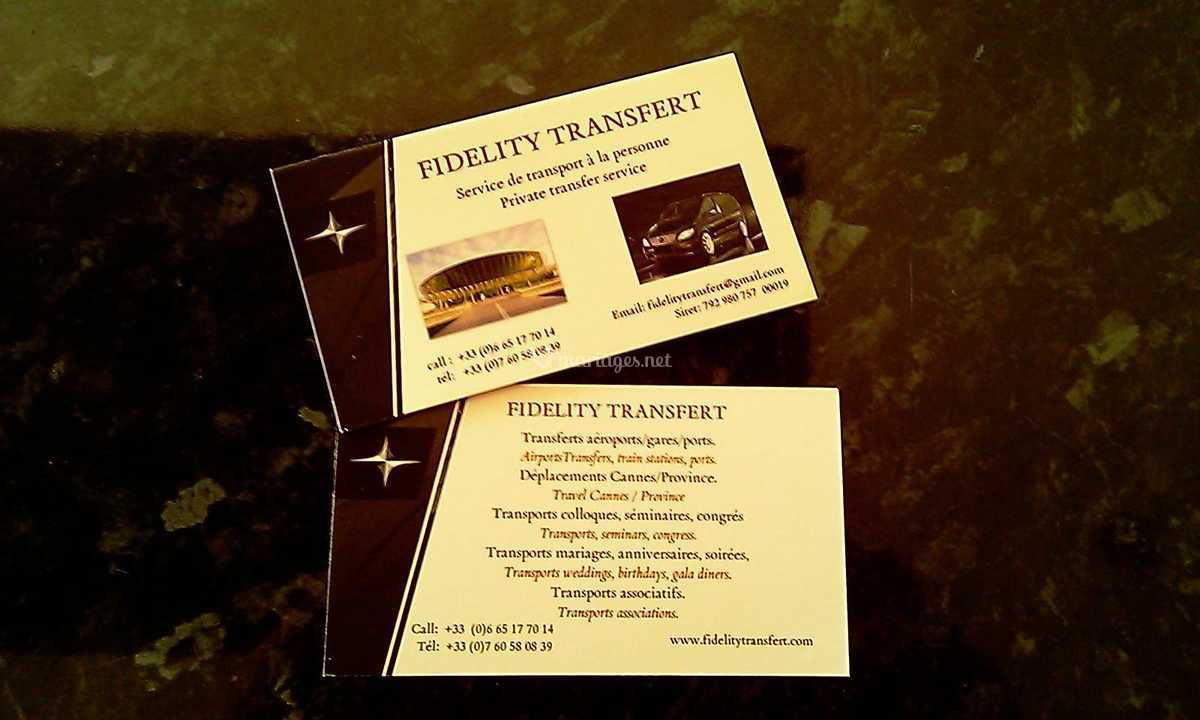 Carte De Visite Fidelity Transfert