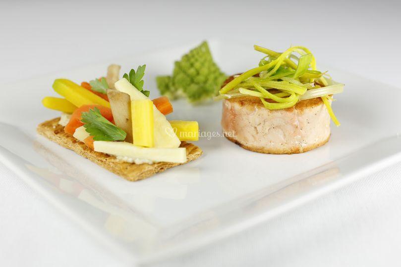 Tournedos de saumon et légumes