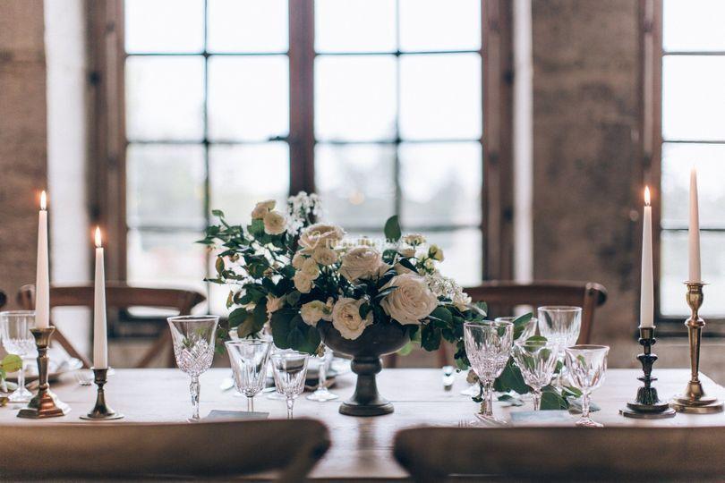 Table dressée dans l'Orangerie