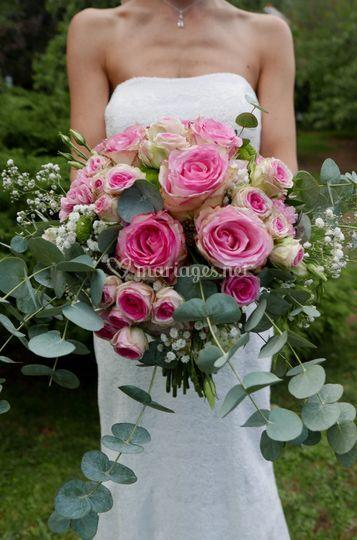 Bouquet Mariée Roses champêtre