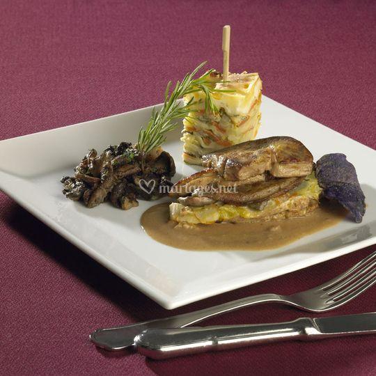 Pintade au foie gras poêlé