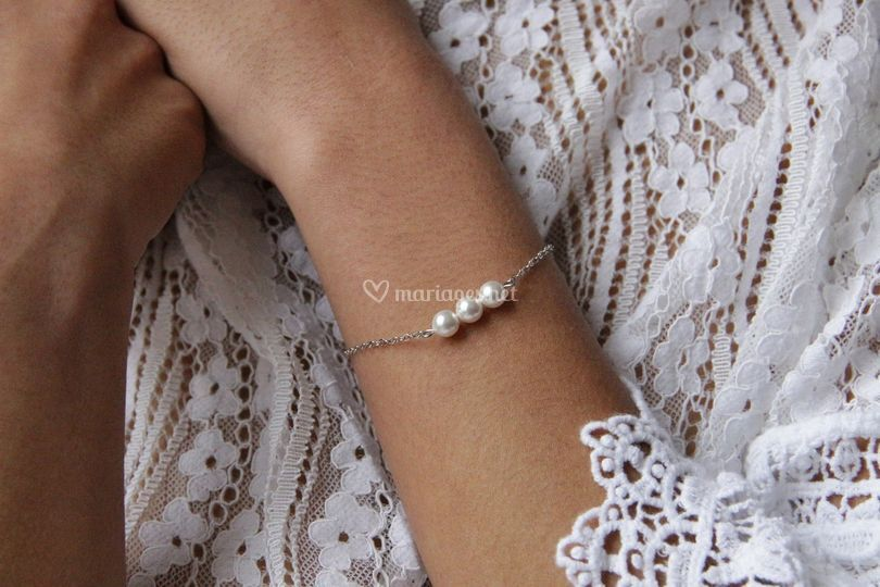 Bracelet mariage trio perles