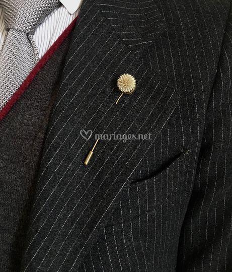 Boutonnière bouton echinops
