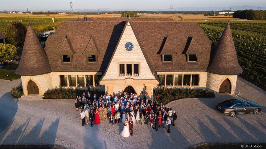 Vue en drone mariage Alsace