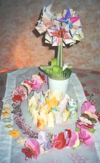 Déco florale table origami