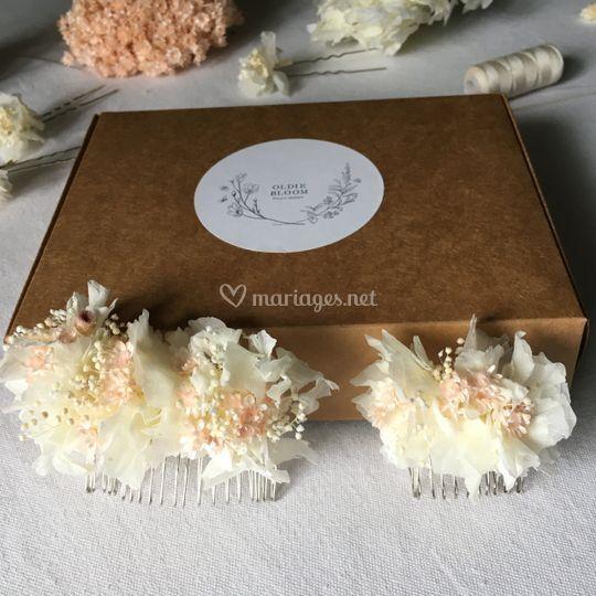 Peignes fleurs séchées