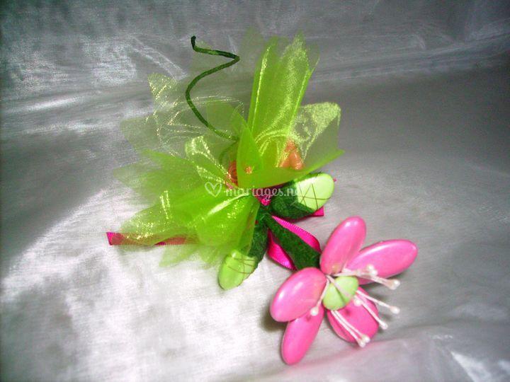 Fleur de dragées avec tulle