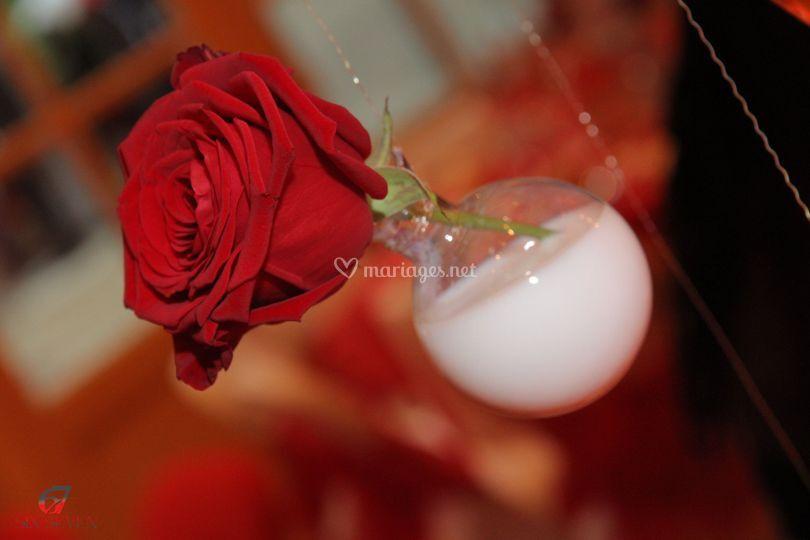 Decorage rose rouge