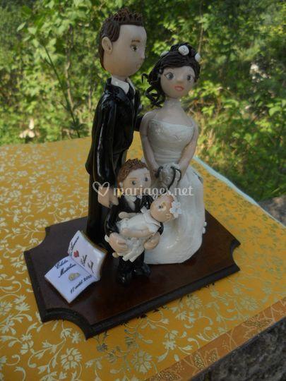 Figurine mariés + enfants