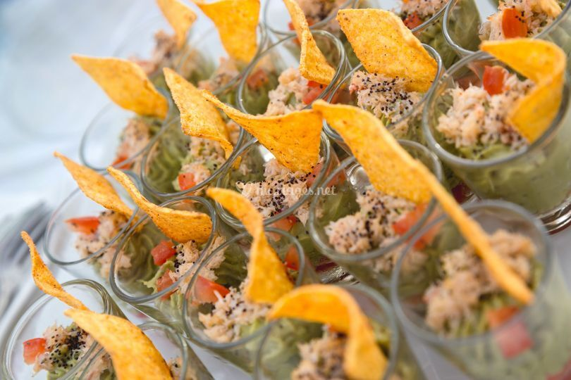 Verrine de guacamole-crabe