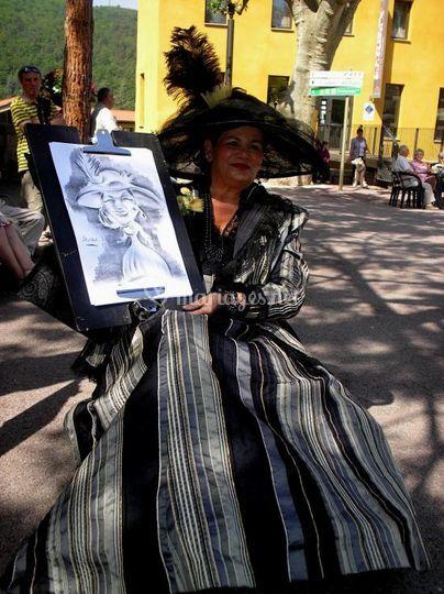 Une invitée avec sa caricature