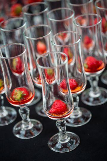 Petite fraise en champagne