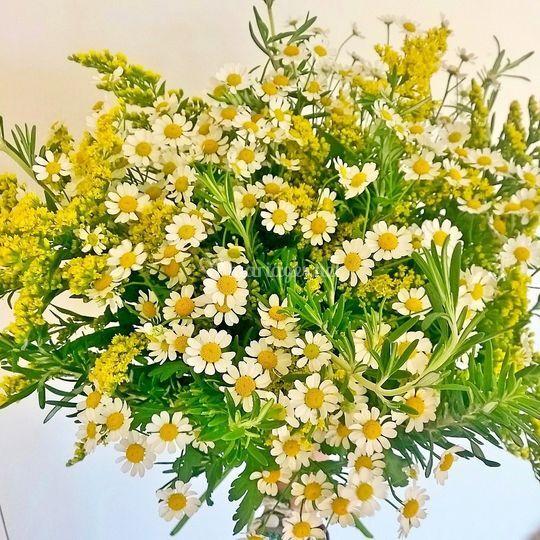 Bouquet champêtre thème miel