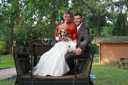 Pose de mariés sur la calèche