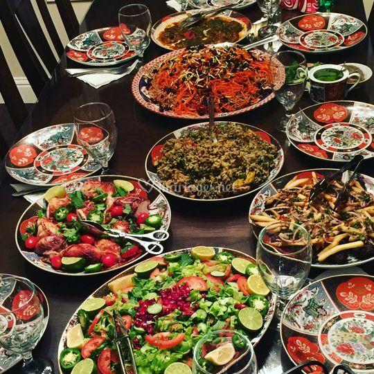 Plats servis à table