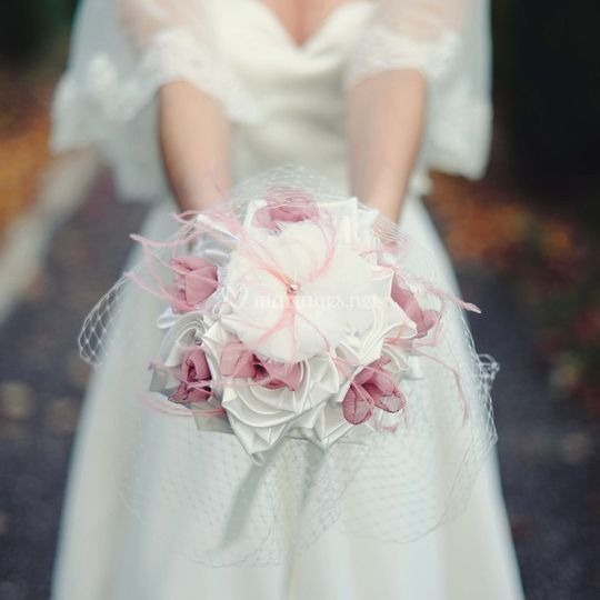 Bouquet vieux rose ivoire