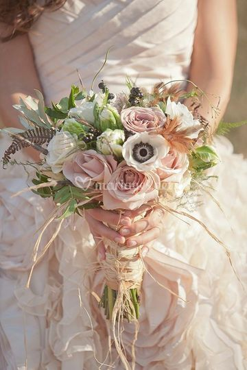 Bouquet rond style Champêtre