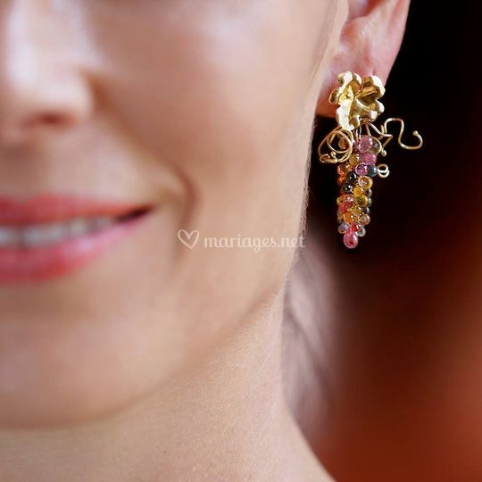 Boucles Grappes Pierres Fines