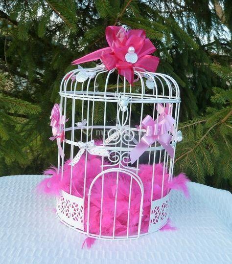 Urne cage oiseau ton fuschia