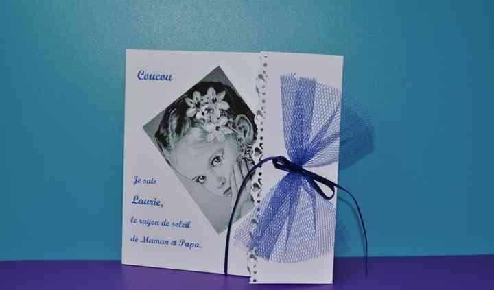 Faire-part mariage noeud bleu