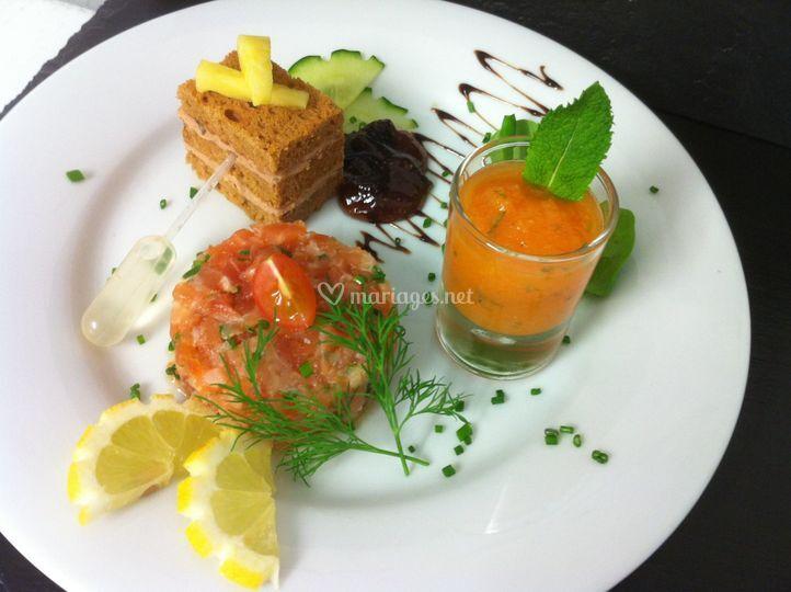 Trio foie gras saumon melon