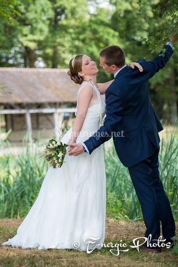 Aube mariés nature