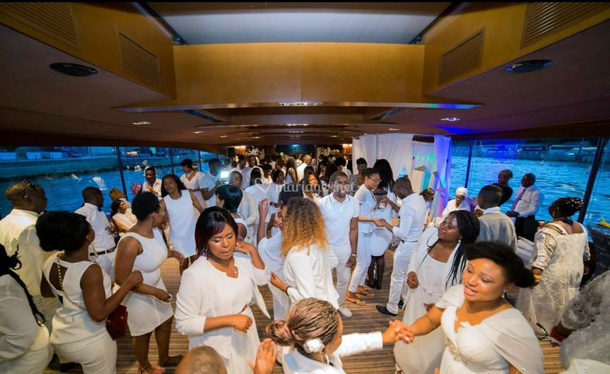 All white wedding on boat