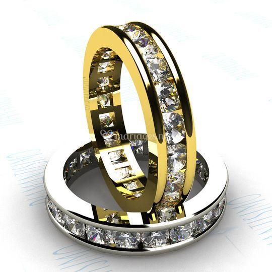 Diamants sertis rail