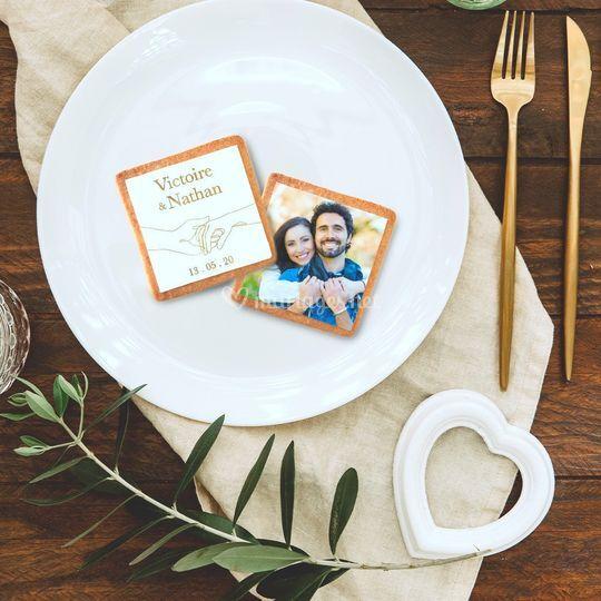 Biscuit mariage main et photo
