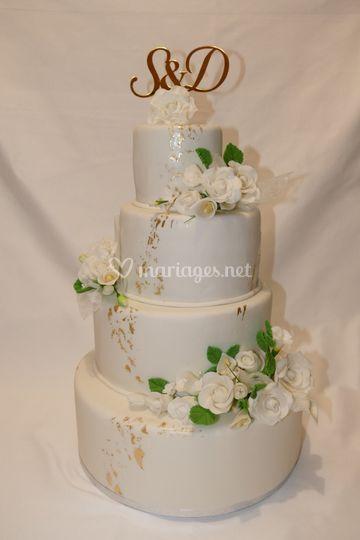 """Wedding cake """"Or/blanc"""""""