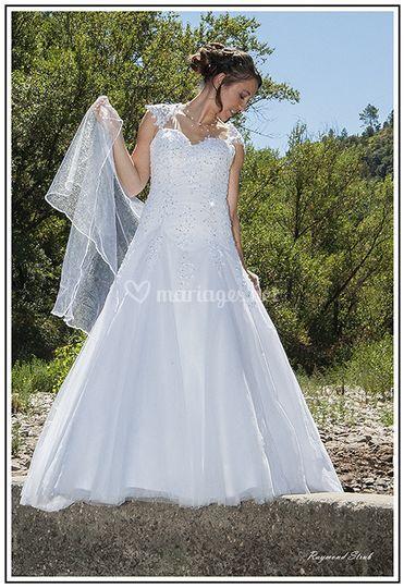 Robe de mariée blanche trapèze