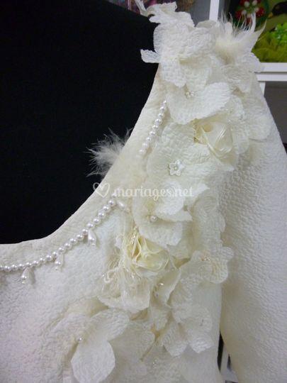Détail d'une robe de mariée