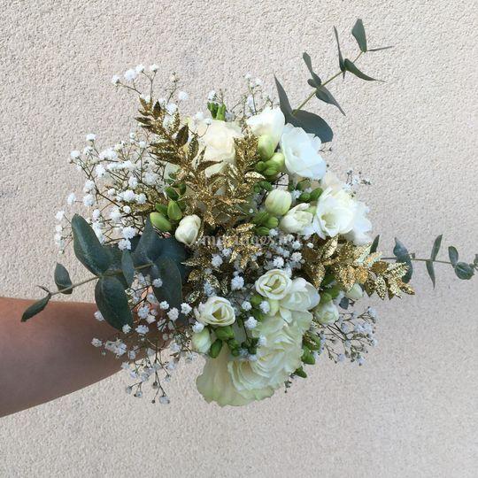 Bouquet de mariée blanc et or