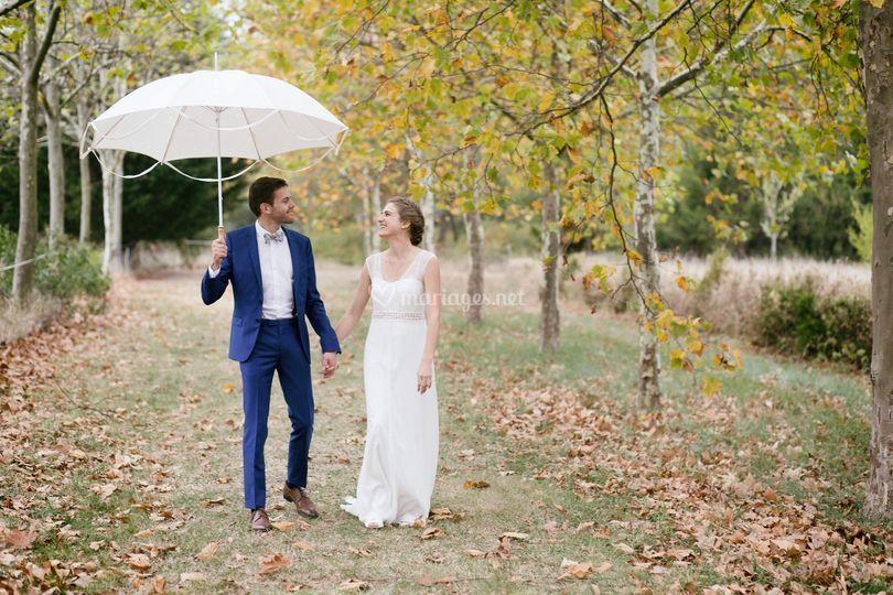 Il pleut ! Mariage heureux !