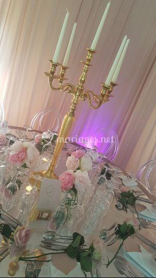 Chandelier or, plateau miroir