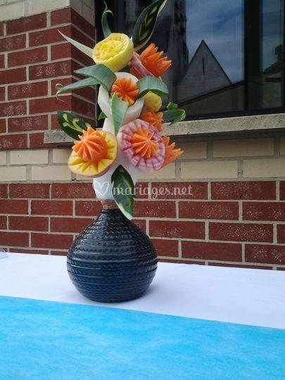 Compo en légumes sculptés