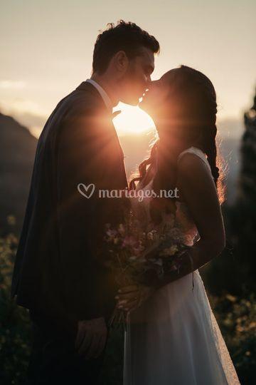 Couple coucher de soleil