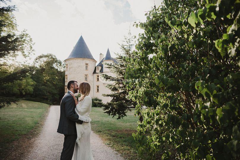 Photo mariés chateau
