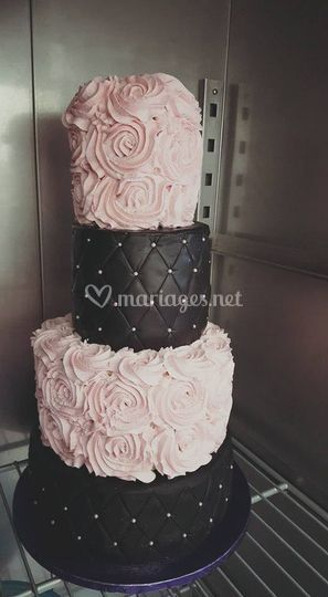 Wedding Cake Rose et Noir